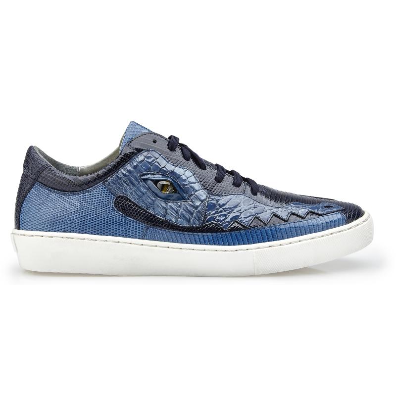 Belvedere Corona Crocodile & Lizard Sneakers Navy / Blue Jean Image