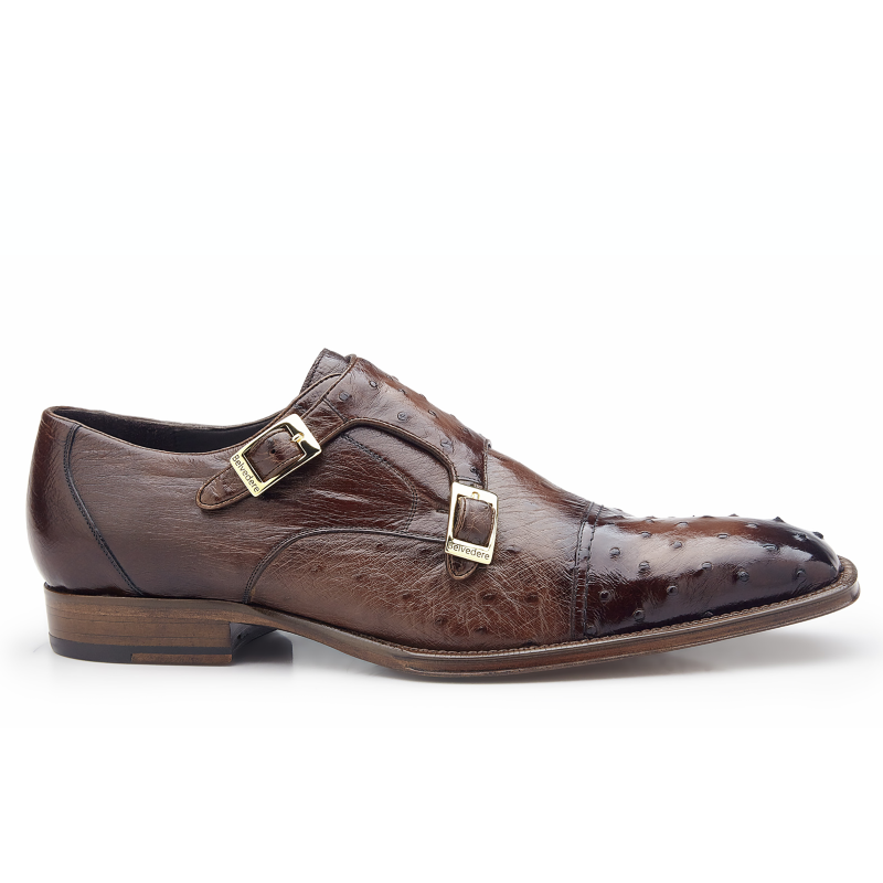 Belvedere Cotto Ostrich Double Monk Strap Shoes Antique Brown Image