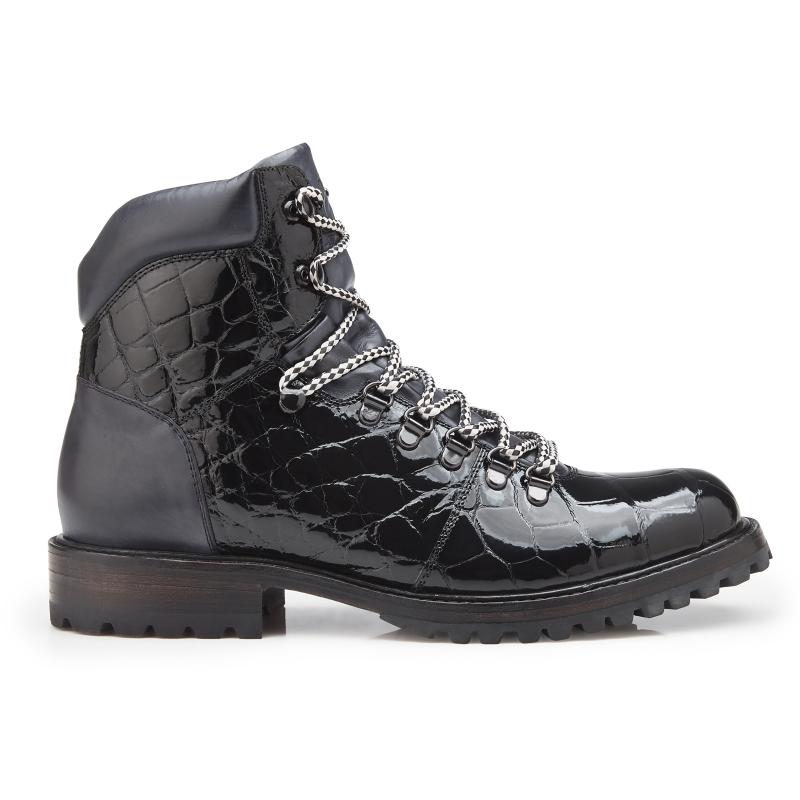 Belvedere Damian Alligator & Calfskin Boots Black Image