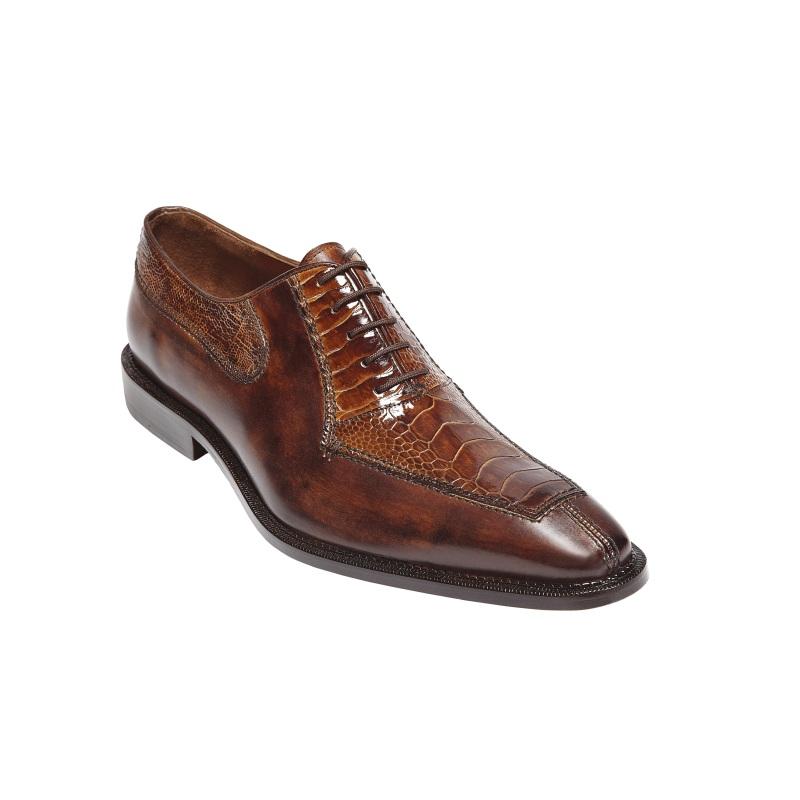 Belvedere Dino Ostrich & Calfskin Shoes Antique Camel/Almond