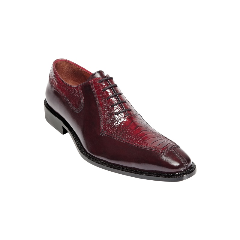 Belvedere Dino Ostrich & Calfskin Shoes Antique Red Image