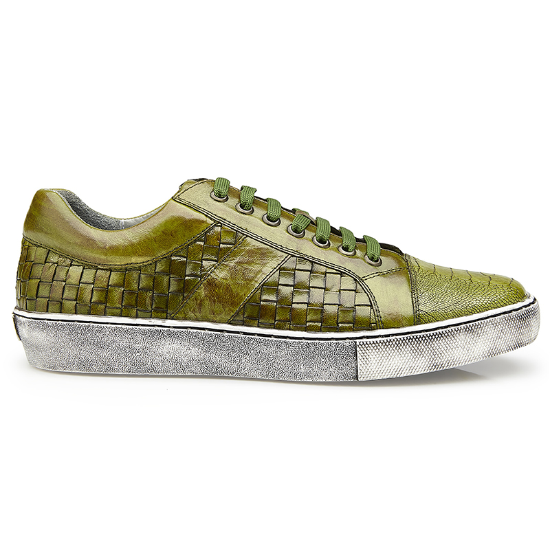 Belvedere Ecco Ostrich Woven Sneakers Antique Emerald Image