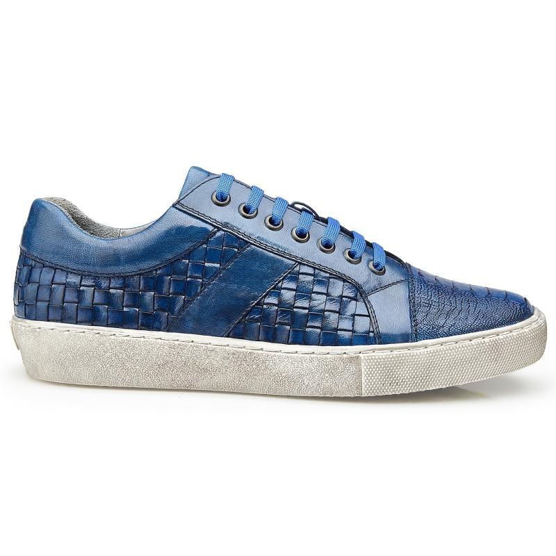 Belvedere Ecco Ostrich Woven Sneakers Antique Ocean Blue Image