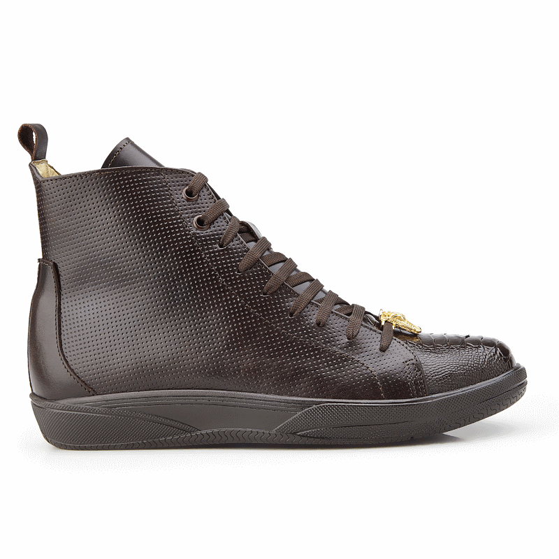 Belvedere Elio Calfskin & Ostrich High Top Sneakers Brown Image