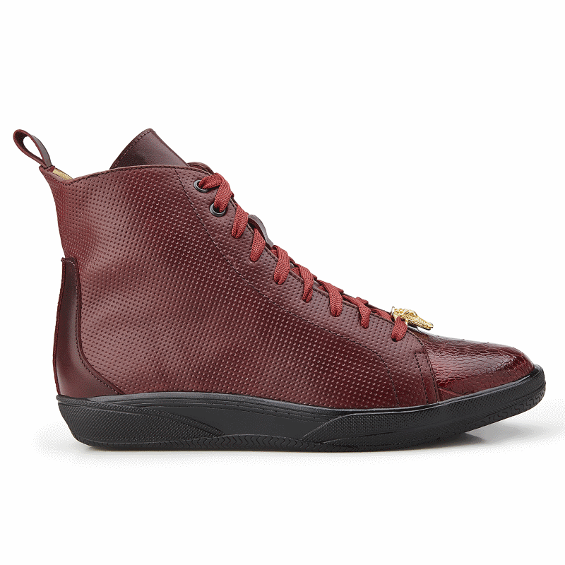 Belvedere Elio Calfskin & Ostrich High Top Sneakers Dark Burgundy Image
