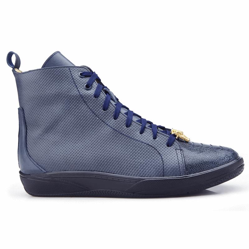 Belvedere Elio Calfskin & Ostrich High Top Sneakers Navy Image