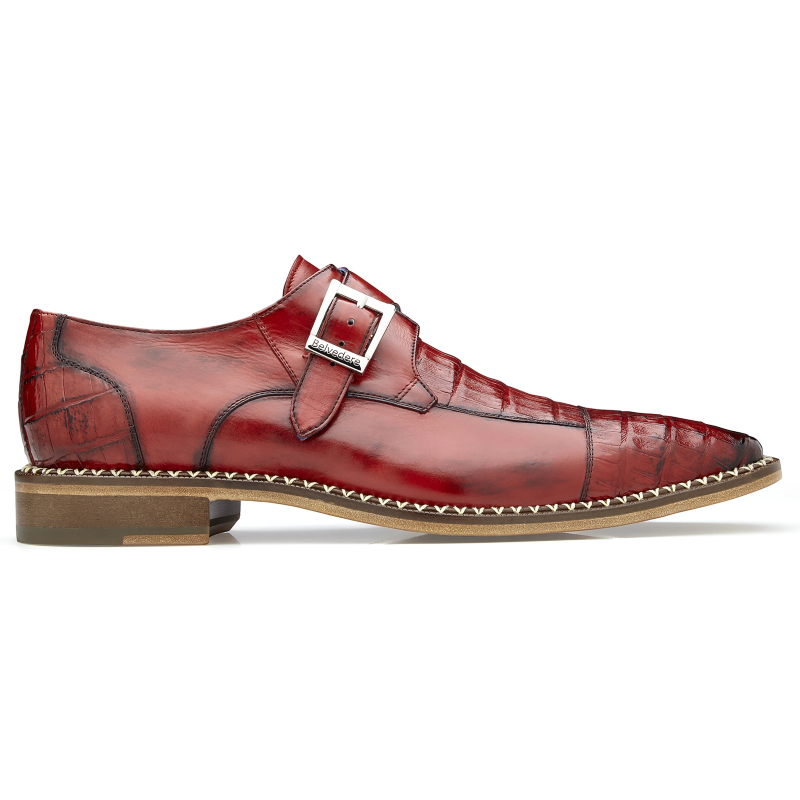 Belvedere Falcon Caiman & Calf Monk Strap Shoes Antique Cherry Image