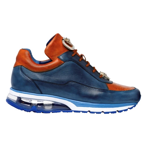 Belvedere Flash Ostrich Leg & Calf Sneakers Antique Blue Safari / Almond Image