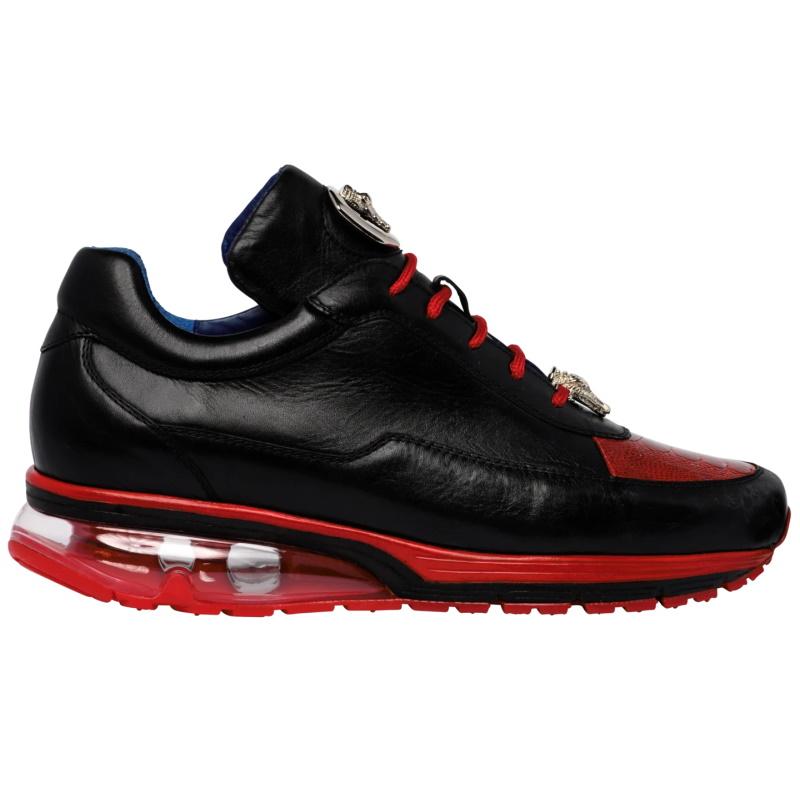 Belvedere Flash Ostrich Leg & Calf Sneakers Black / Red Image