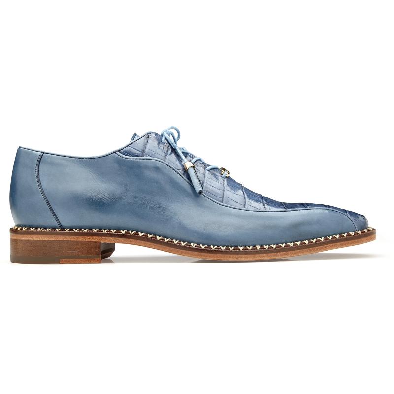 Belvedere Gabriele Caiman & Calf Oxfords Antique Blue Jean Image