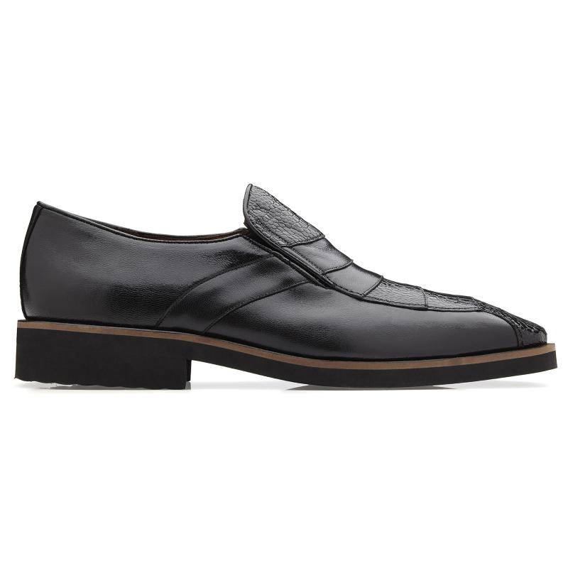Belvedere Gavino Ostrich & Calfskin Loafers Black Image