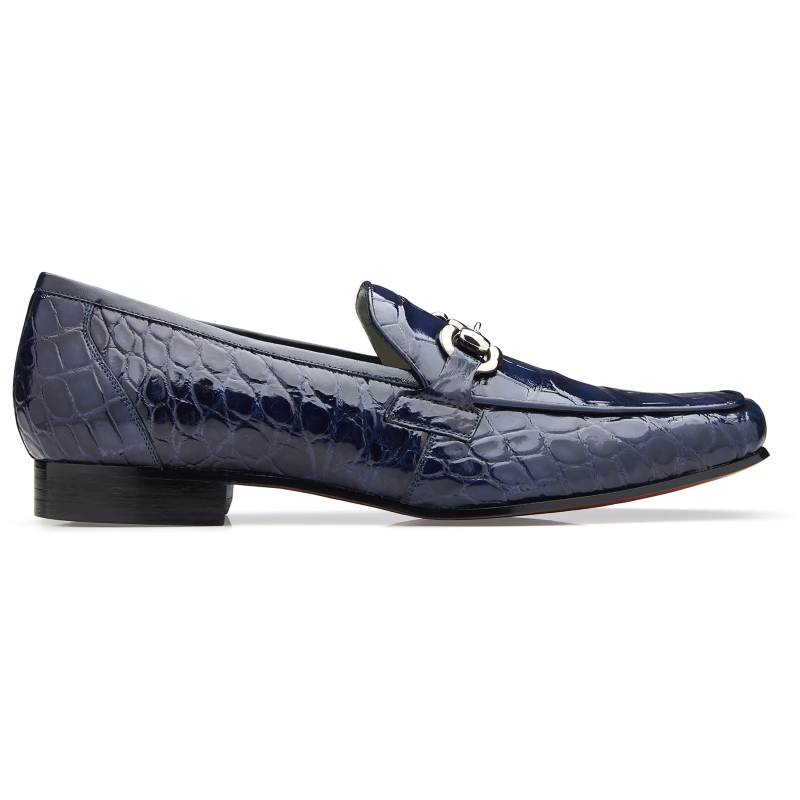 Belvedere Gerald Alligator Bit Loafers Navy Image