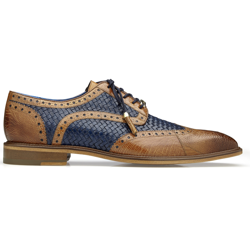 Belvedere Gerry Ostrich & Woven Shoes Antique Almond / Navy Image