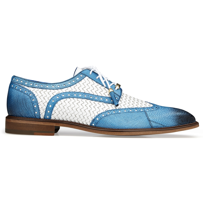 Belvedere Gerry Ostrich & Woven Shoes Antique Blue Safari / White Image