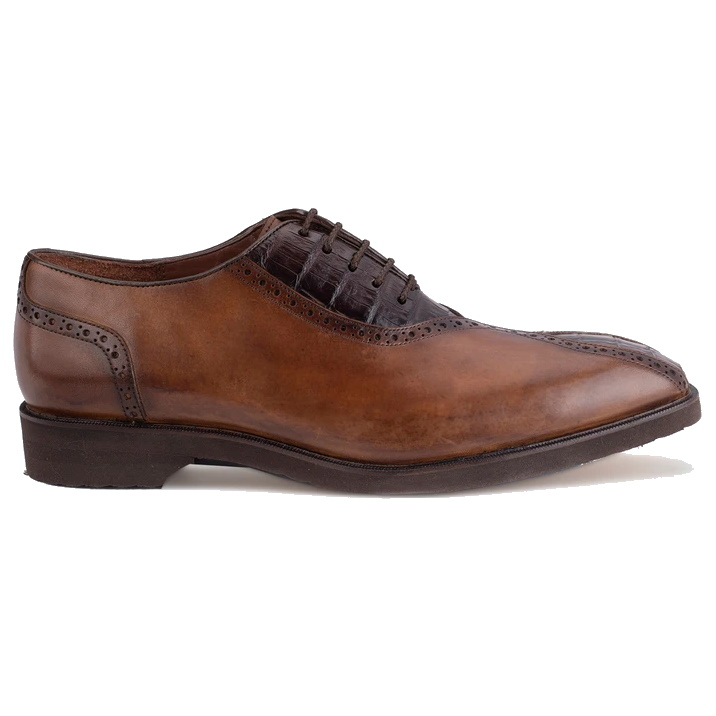 Belvedere Grant Caiman & Calfskin Oxfords Antique Almond / Chocolate Image