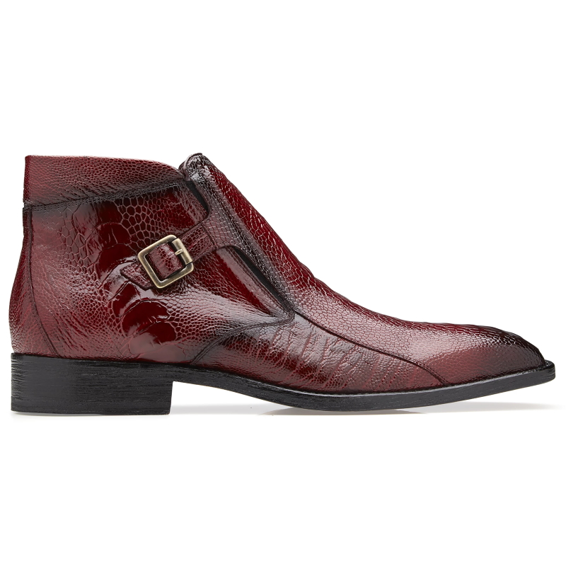 Belvedere Gregg Ostrich Ankle Boots Scarlet Red Image