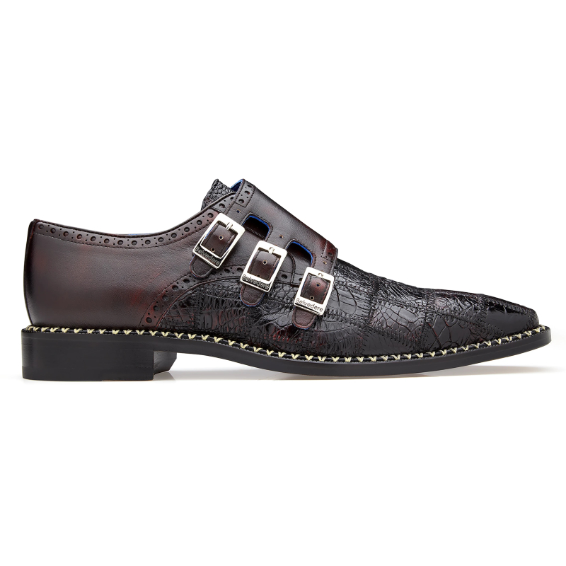 Belvedere Hurricane Caiman Monk Strap Shoes Black Cherry Image