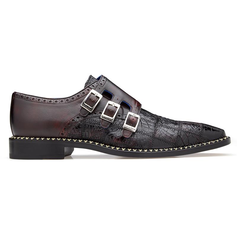 Belvedere Hurricane Caiman Monk Strap Shoes Black Cherry Image
