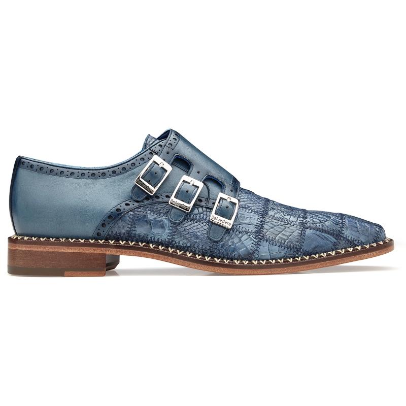 Belvedere Hurricane Caiman Monk Strap Shoes Blue Jean Image