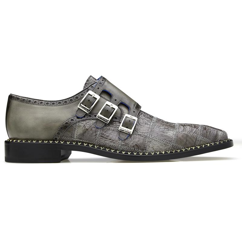 Belvedere Hurricane Caiman Monk Strap Shoes Gray Image