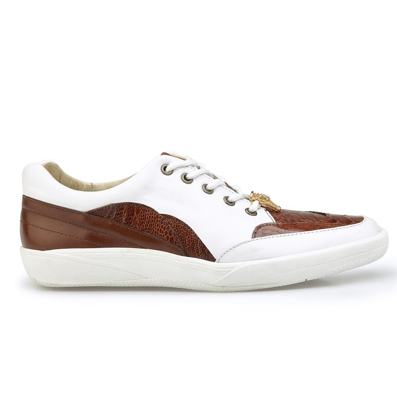 Belvedere Irvin Ostrich & Calfskin Sneakers Cognac / White Image