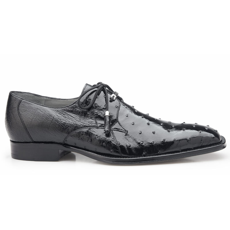 Belvedere Isola Ostrich Quill Dress Shoes Black Image