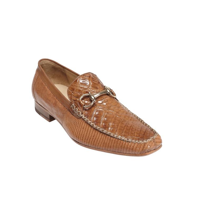 Belvedere Italo Crocodile & Lizard Bit Loafers Antique Saddle