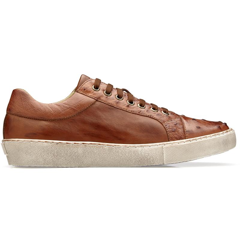 Belvedere Jacob Ostrich & Calfskin Sneakers Antique Cognac Image