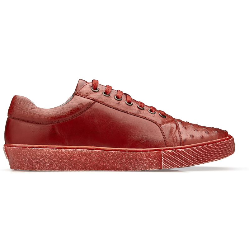 Belvedere Jacob Ostrich & Calfskin Sneakers Antique Red Image