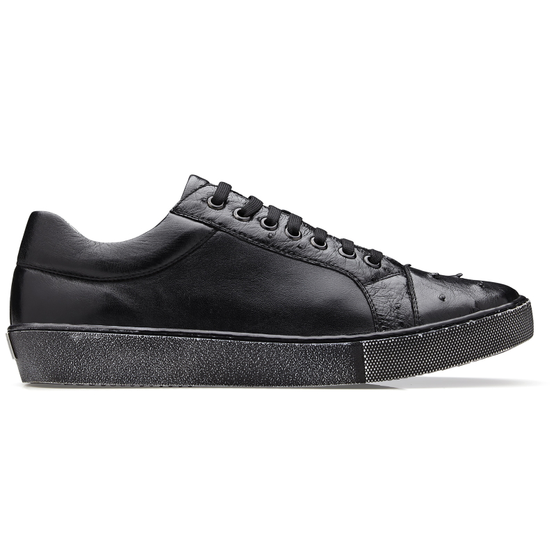 Belvedere Jacob Ostrich & Calfskin Sneakers Black Image