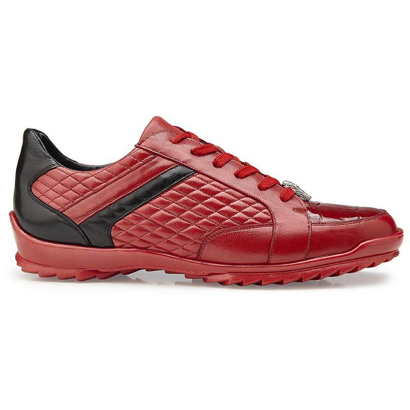 Belvedere Joel Crocodile & Calf Sneakers Red Image