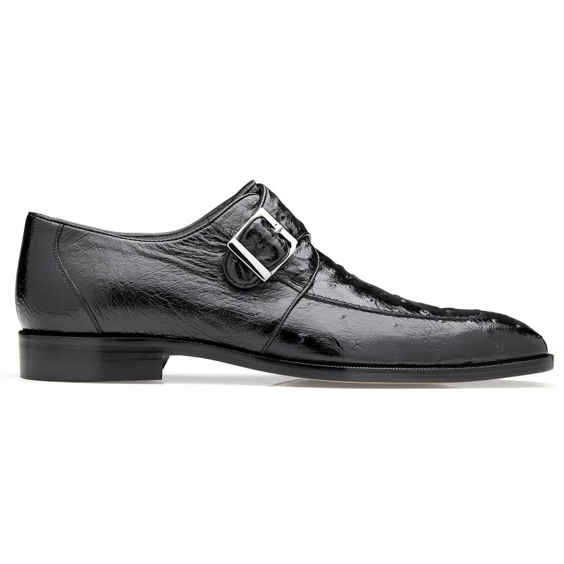 Belvedere Josh Ostrich Monk Strap Shoes Black Image
