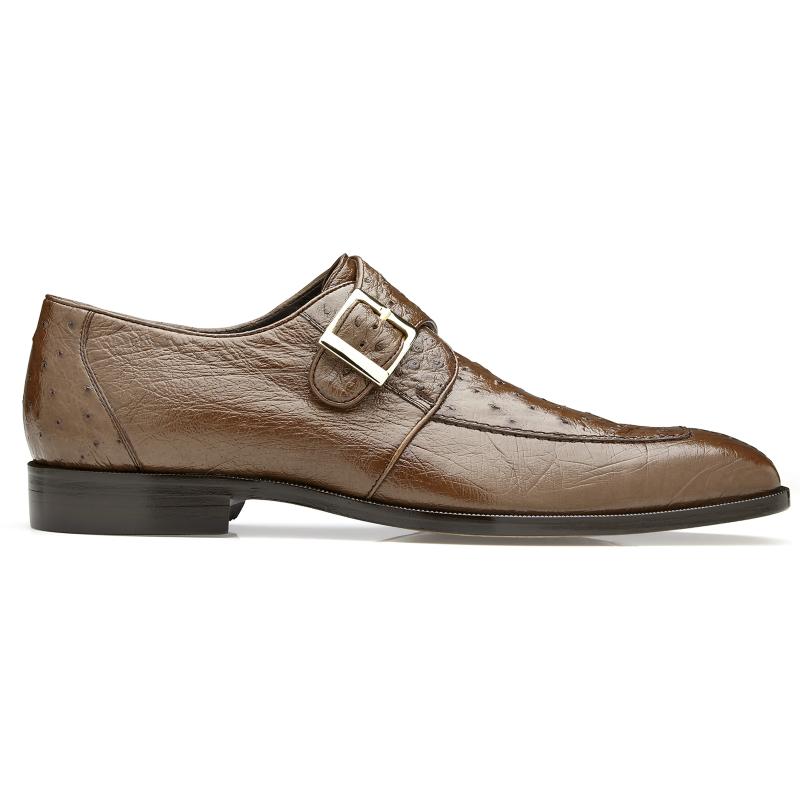 Belvedere Josh Ostrich Monk Strap Shoes Brown Image