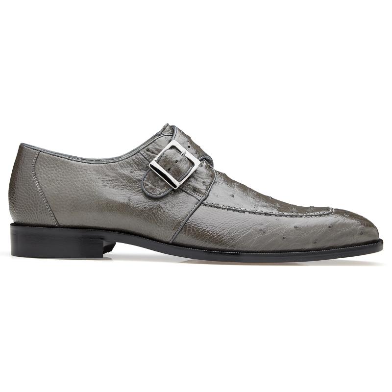 Belvedere Josh Ostrich Monk Strap Shoes Gray Image