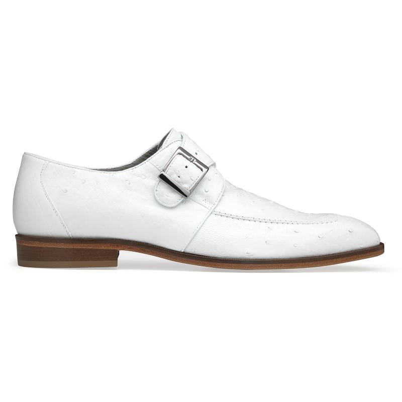 Belvedere Josh Ostrich Monk Strap Shoes White Image