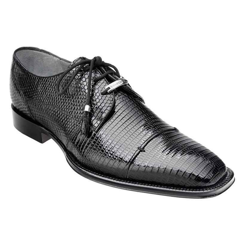 Belvedere Karmelo Lizard Cap Toe Shoes Black Image