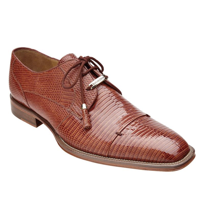 Belvedere Karmelo Lizard Cap Toe Shoes Tan Image