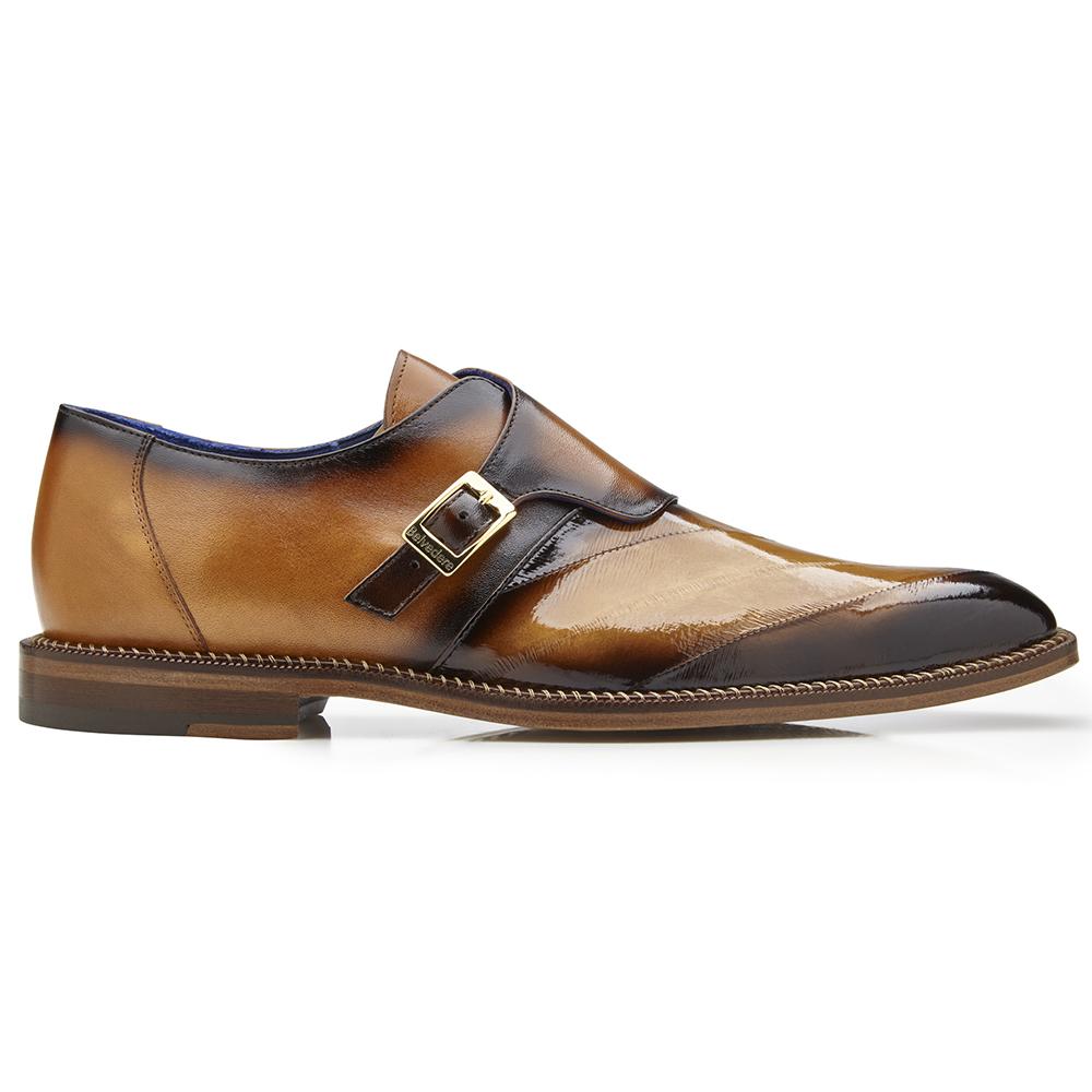 Belvedere King Eel Monk Strap Shoes Antique Camel Image