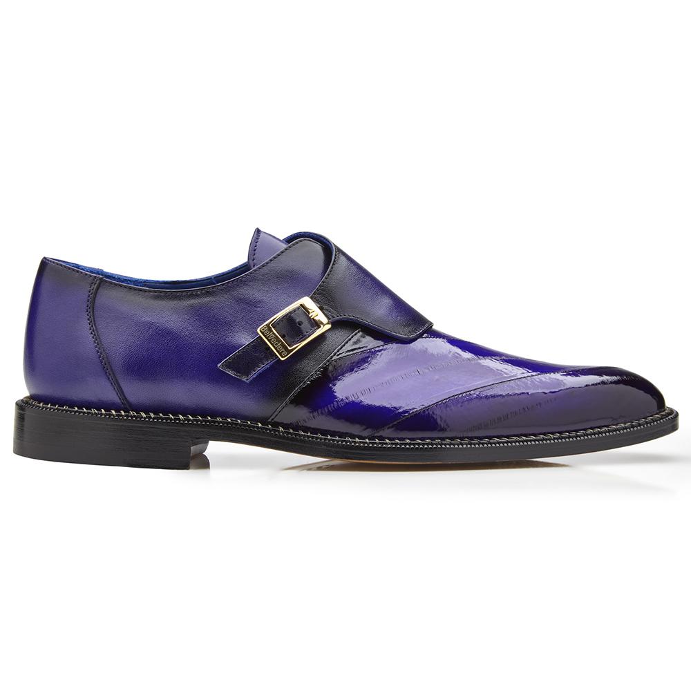 Belvedere King Eel Monk Strap Shoes Antique Purple Image