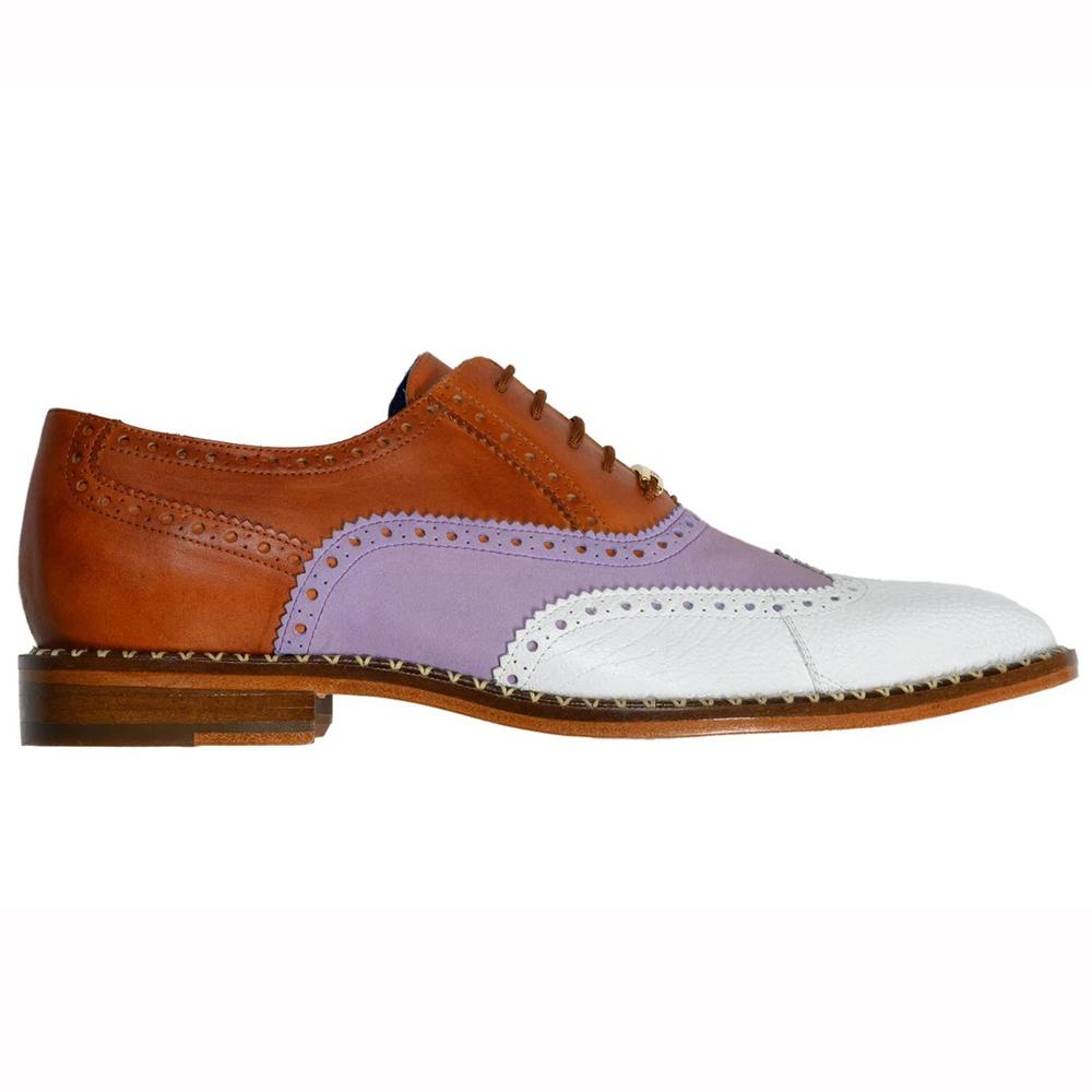 Belvedere Kurt Ostrich / Suede / Calfskin Shoes Almond / Plum / White Image