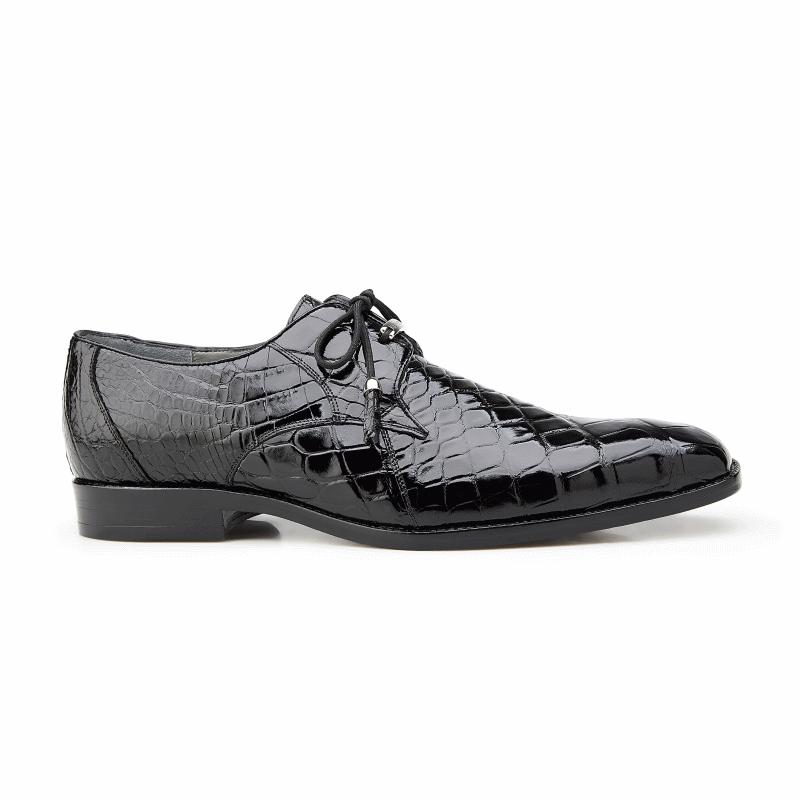 Belvedere Lago Alligator Dress Shoes Black Image
