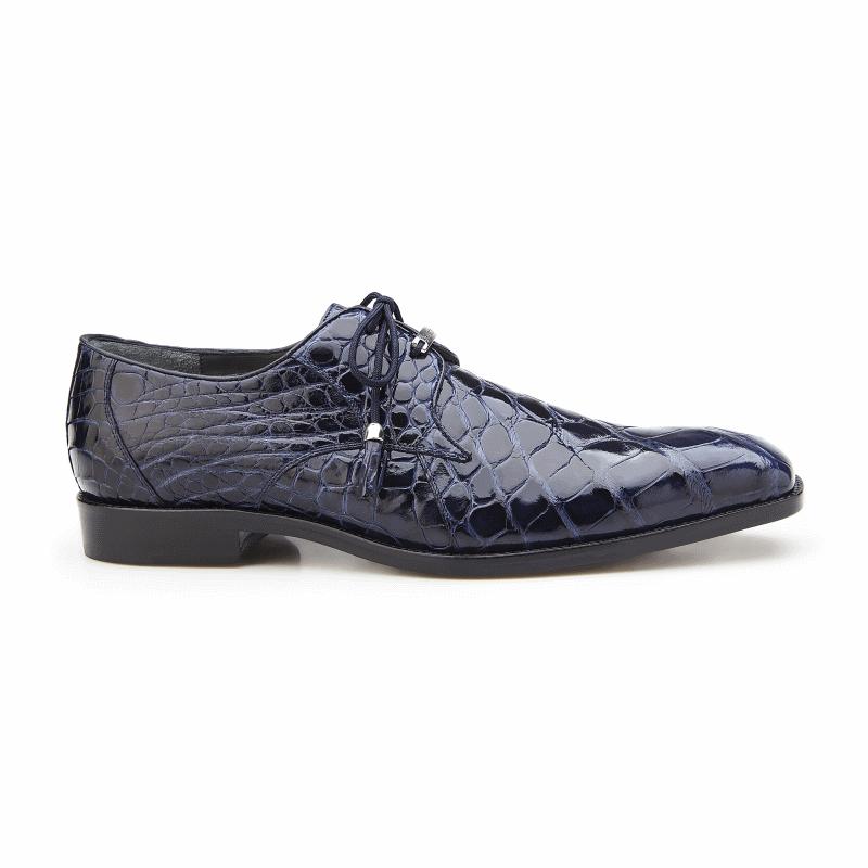 Belvedere Lago Alligator Dress Shoes Navy Image