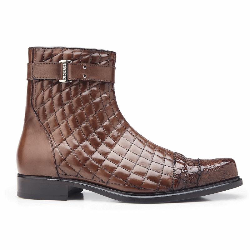Belvedere Libero Quilted Leather & Alligator Cap Toe Boots Antique Maple Image
