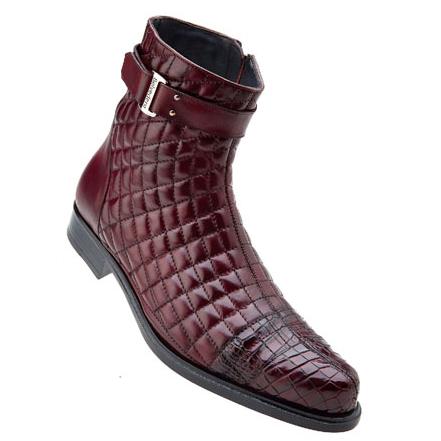 Belvedere Libero Quilted Leather & Alligator Cap Toe Boots Antique Wine Image