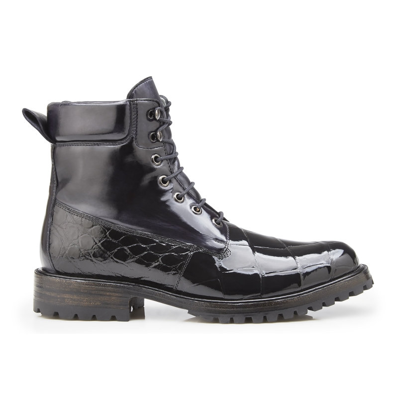 Belvedere Logan Alligator & Calfskin Boots Black Image