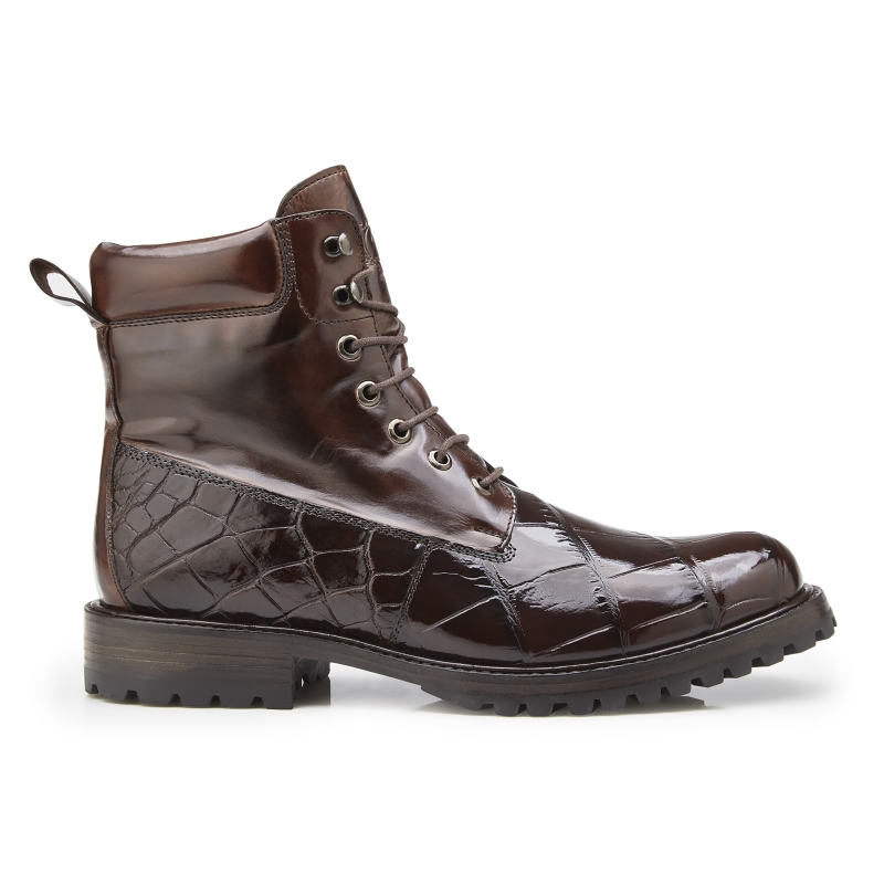 Belvedere Logan Alligator & Calfskin Boots Chocolate Image