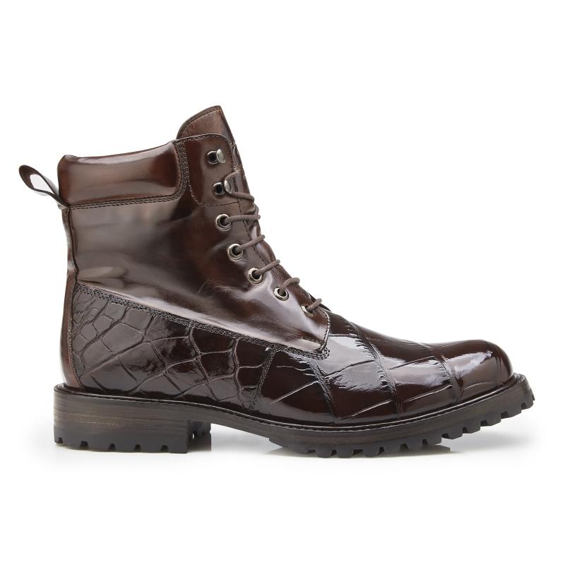 Belvedere Logan Alligator & Calfskin Boots Chocolate Image