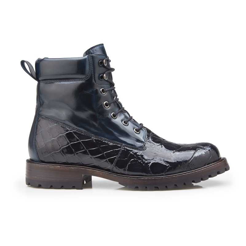 Belvedere Logan Alligator & Calfskin Boots Night Blue Image
