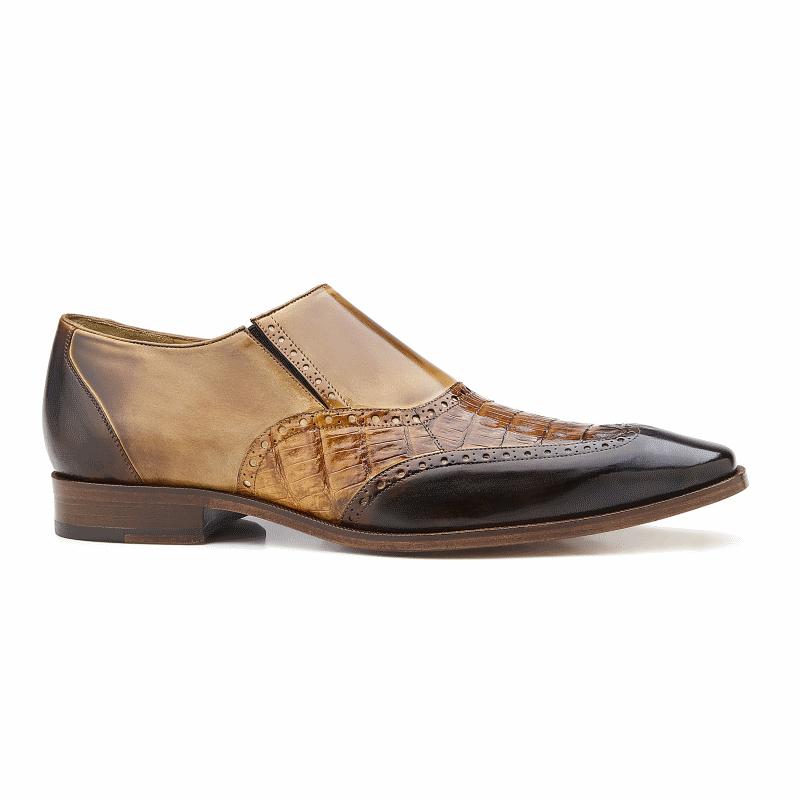 Belvedere Lucas Crocodile & Calfskin Wingtip Shoes Brown / Camel / Tabac Image