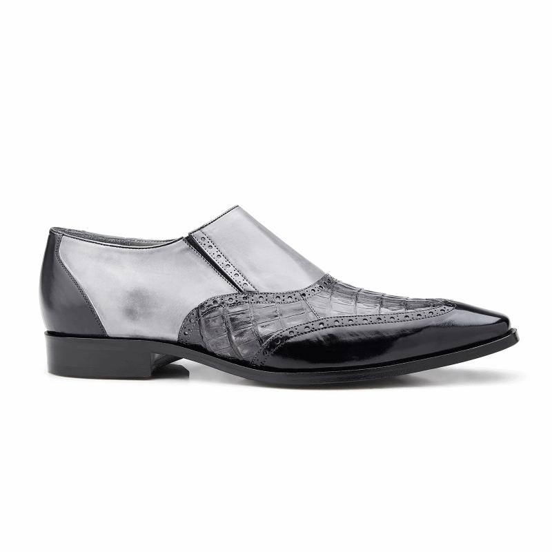 Belvedere Lucas Crocodile & Calfskin Wingtip Shoes Dark Gray / Gray / Light Gray Image